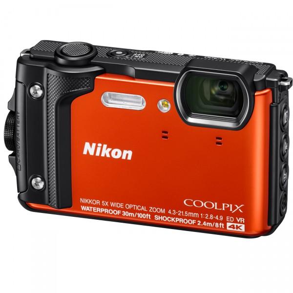 Nikon Coolpix W300, orange mit Rucksack