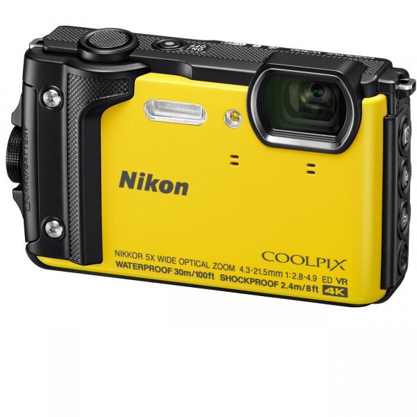 Nikon Coolpix W300, gelb mit Rucksack