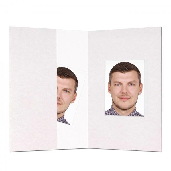 Passbild-Mäppchen mit Ausschnitt 32x42 mm, weiß