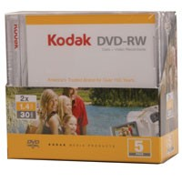 Kodak Mini DVD-RW, 5 St. im Mini-Slimcase 1,4 GB