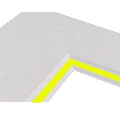 Passepartoutkarton 40x50cm, weiß - Kern gelb