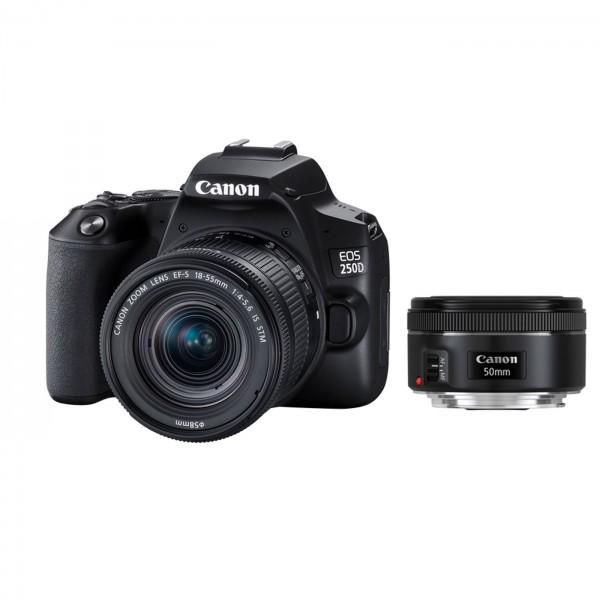 Canon EOS 250D schwarz Set + 18-55mm +1,8/50mm STM