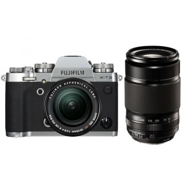 Fuji X-T3 Set + XF 18-55mm + XF 55-200mm, silber
