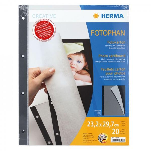 Herma Fotokarton schwarz 20 Bl. 23x30cm