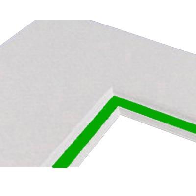 Passepartoutkarton 40x50cm, weiß - Kern grün