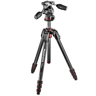Manfrotto Set Stativ MT190GO C4TB + 3-Wege-Neiger