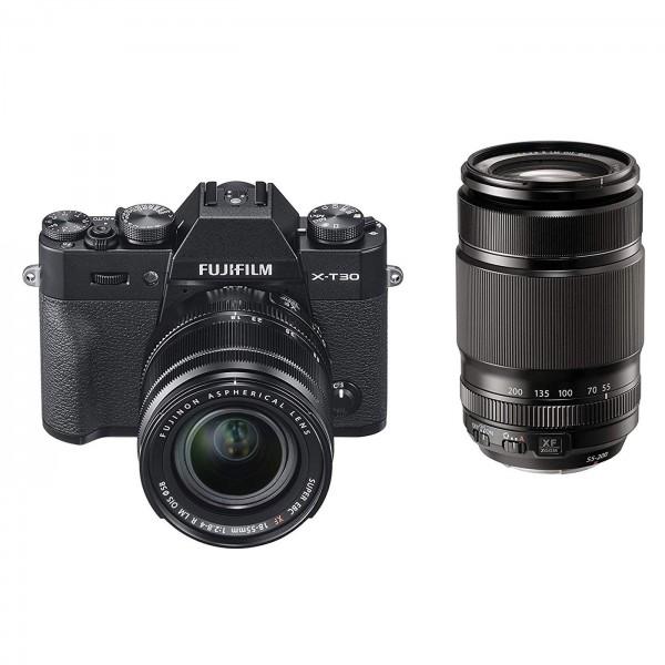 Fuji X-T30 Set + XF 18-55mm + XF55-200mm, schwarz