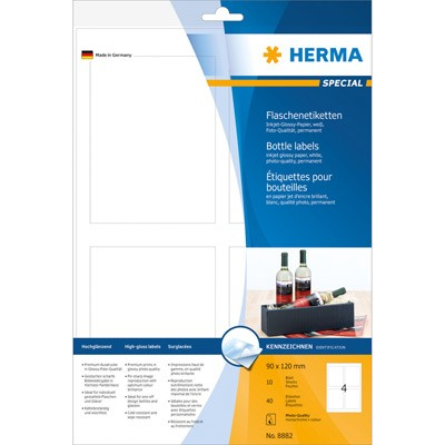 Herma Flaschenetiketten Inkjet 90x120mm weiß 40St