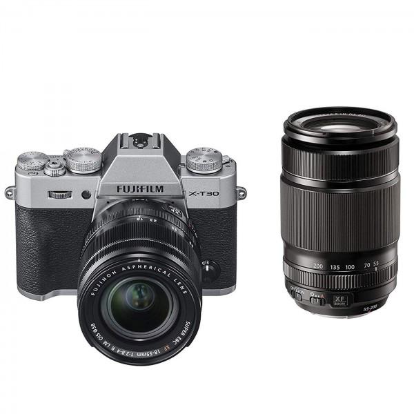 Fuji X-T30 Set + XF 18-55mm + XF 55-200mm, silber