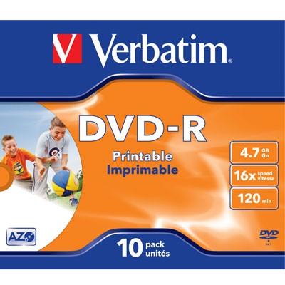 Verbatim DVD-R Inkjet, 4,7 GB, 10er Jewelcase