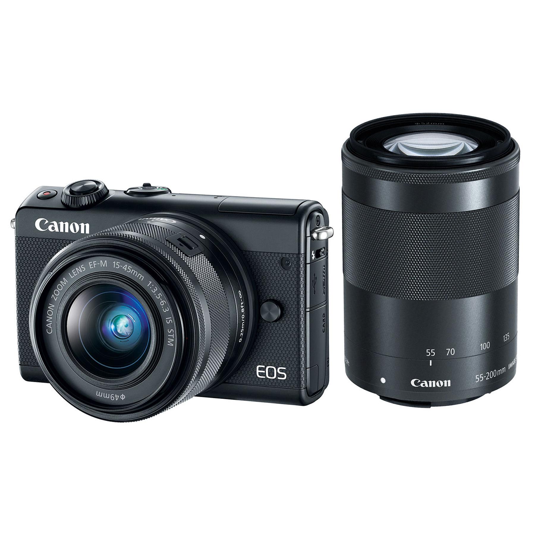 Canon EOS M100 Set EF M 15 45 55 200 schwarz DSLR & Systemkameras Kameras